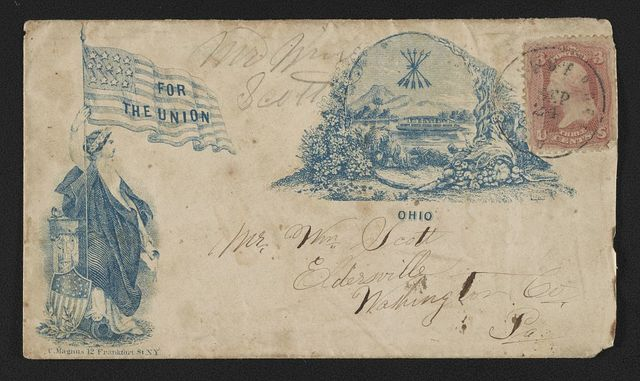 "[Civil War envelope showing Columbia with American flag bearing message ""For the Union"" and state seal of Ohio]"