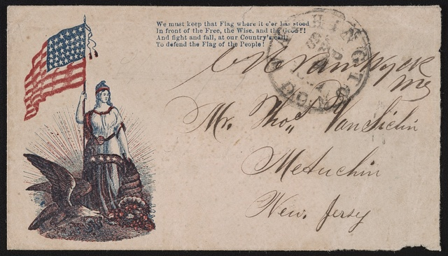 "[Civil War envelope showing Columbia with eagle, American flag, and cornucopia with lines from John Savage's poem, ""The starry flag""]"