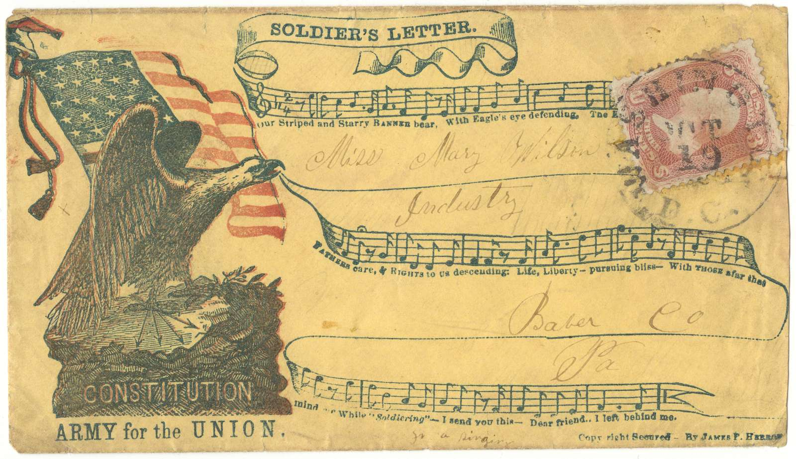"Civil War envelope showing eagle, American flag, musical score and lyrics, with messages ""Soldier's Letter,"" ""Constitution,"" and ""Army for the Union"""