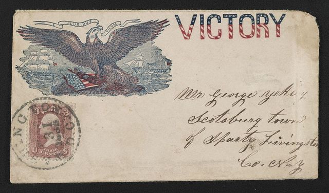 """[Civil War envelope showing eagle and shield with sailboat and steamboat in the distance and bearing message """"Victory""""]"""