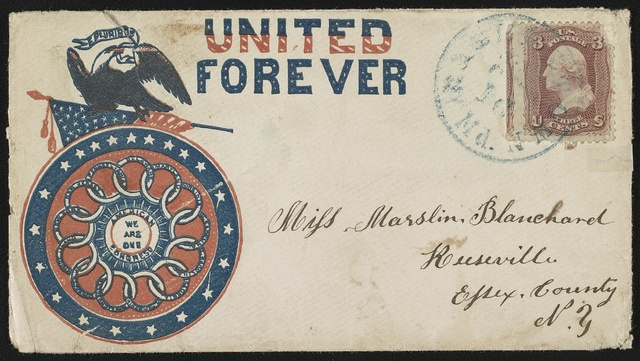 "[Civil War envelope showing eagle atop American flag and ""American Congress, we are one"" medallion with message ""United forever""]"