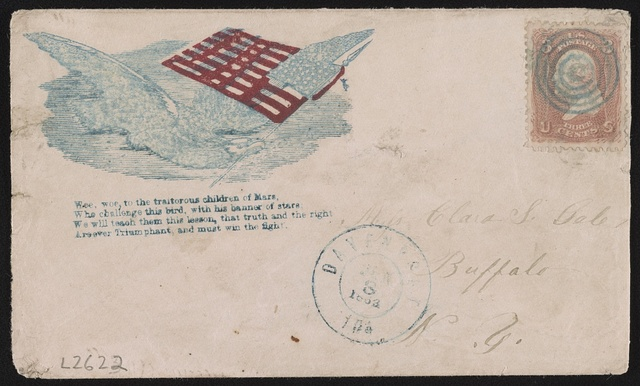 "[Civil War envelope showing eagle flying with American flag above poem, ""Woe, woe to the traitorous children of Mars ...""]"