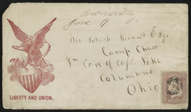 "[Civil War envelope showing eagle holding olive branch atop shield, with message ""Liberty and union""]"