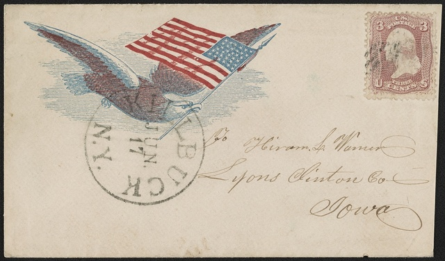 [Civil War envelope showing eagle in flight carrying American flag in beak]