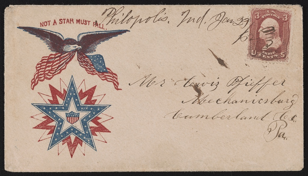 """[Civil War envelope showing eagle with American flag above star design with message """"Not a star must fall""""]"""