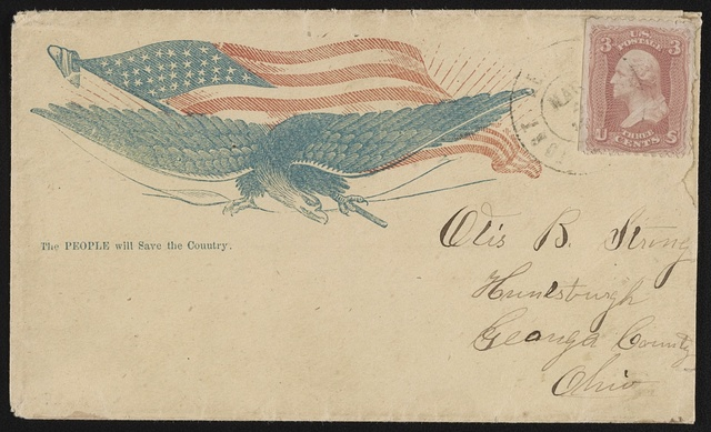 "[Civil War envelope showing eagle with American flag and stalk of wheat with message ""The people will save the country""]"