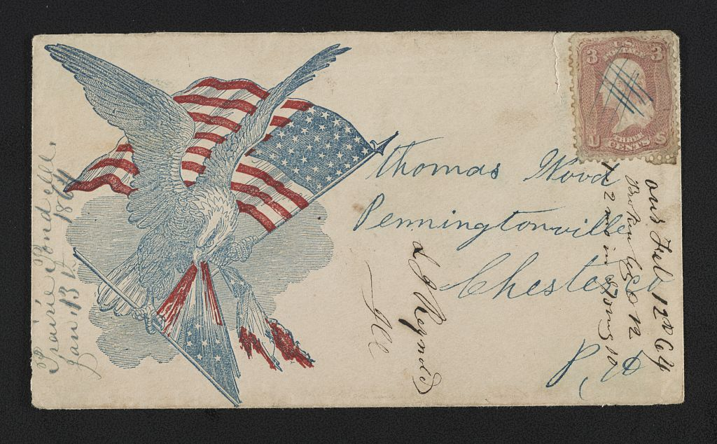 [Civil War envelope showing eagle with American flag attacking 7-star Confederate flag]