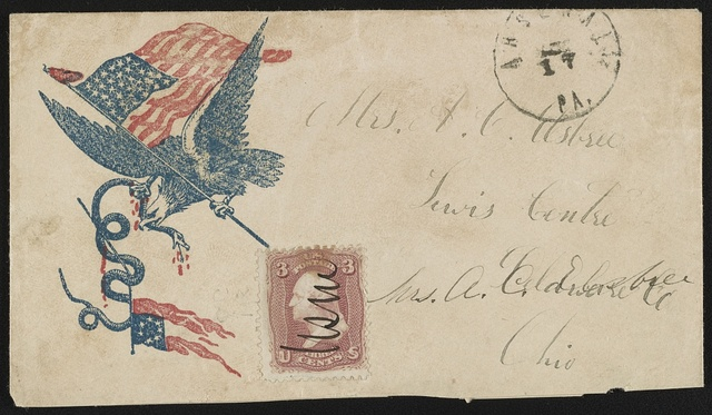 [Civil War envelope showing eagle with American flag in its talon and snake coiled around Confederate flag in its beak]