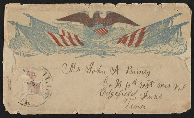 [Civil War envelope showing eagle with shield above American flags]