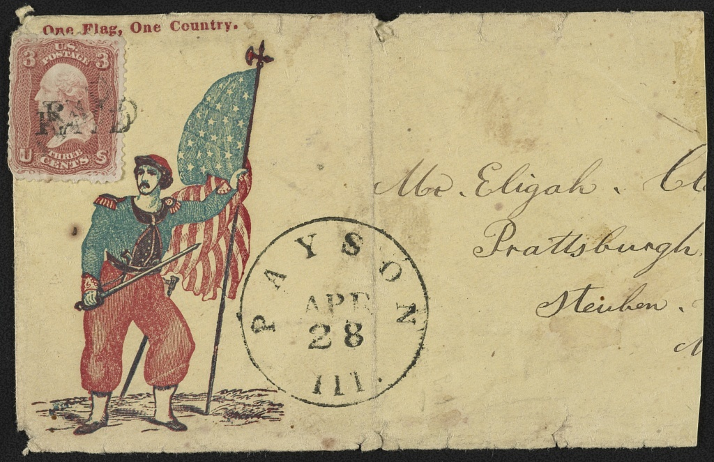 """[Civil War envelope showing Elmer Ellsworth with sword, pistol, and American flag with message """"One flag, one country""""]"""