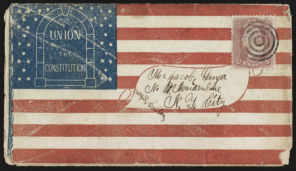 "[Civil War envelope showing flag design with message ""The Union and the Constitution""]"