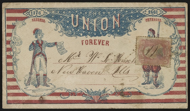 """[Civil War envelope showing Patriot labeled """"Secured"""" holding the Constitution and Zouave soldier labeled """"Defended,"""" with message """"The Union forever""""]"""