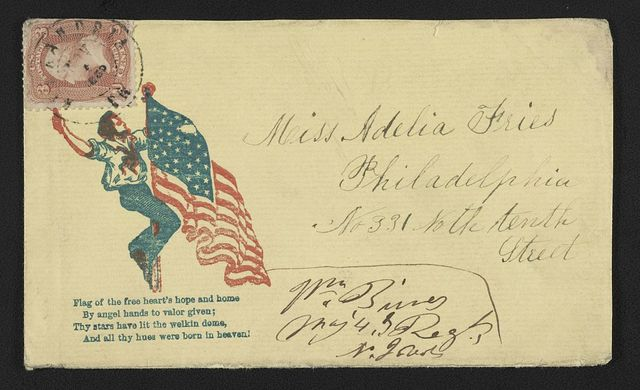 [Civil War envelope showing sailor climbing up flagpole to American flag with lines from poem]