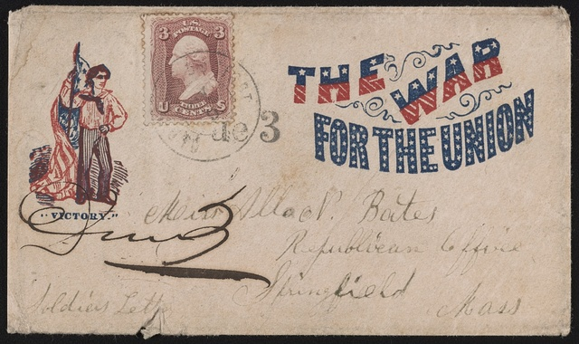 "[Civil War envelope showing sailor labeled ""Victory"" holding American flag, with message ""The war for the Union""]"