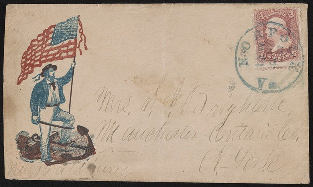 [Civil War envelope showing sailor with American flag and sword standing atop anchor]