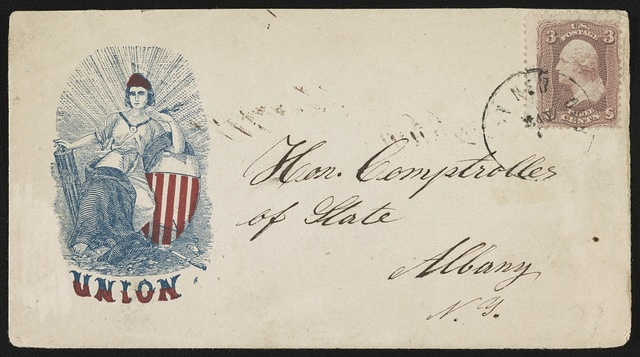 "[Civil War envelope showing seated Columbia with shield, with message ""Union""]"