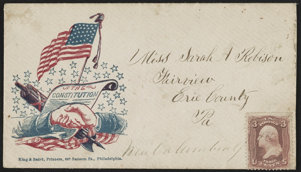 [Civil War envelope showing shaking hands in front of U.S. Constitution with weapon and American flag in back]