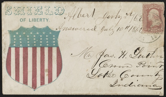 "[Civil War envelope showing shield with message ""Shield of liberty""]"