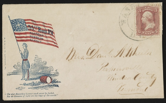 """[Civil War envelope showing soldier holding 51st Pennsylvania Infantry Regiment flag with message """"The star-flowering banner must never be furled, for its blossoms of light are the hope of the world""""]"""