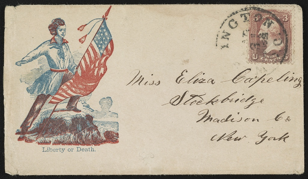 """[Civil War envelope showing soldier holding American flag, with message """"Liberty or death""""]"""