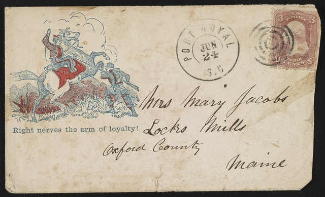 "[Civil War envelope showing two soldiers in combat with message ""Right nerves the arm of loyalty""]"
