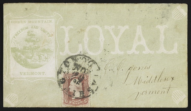 "[Civil War envelope showing Vermont state seal with message ""Loyal""]"