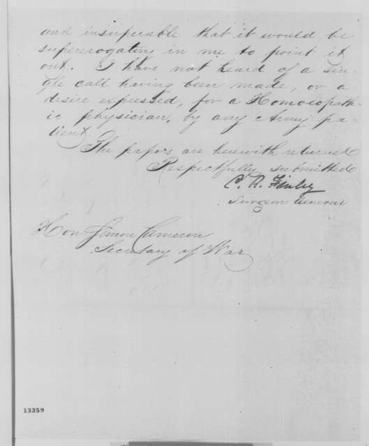 Clement A. Finley to Simon Cameron, Wednesday, December 11, 1861  (Establishment of homeopathic hospital; with endorsement from Thomas A. Scott to Lincoln, Dec. 11, 1861)