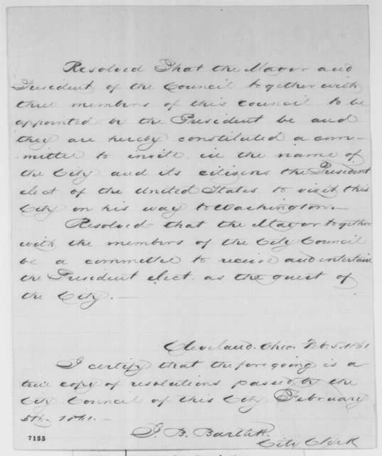 Cleveland Executive Committee, Tuesday, February 05, 1861  (Resolution inviting Lincoln)