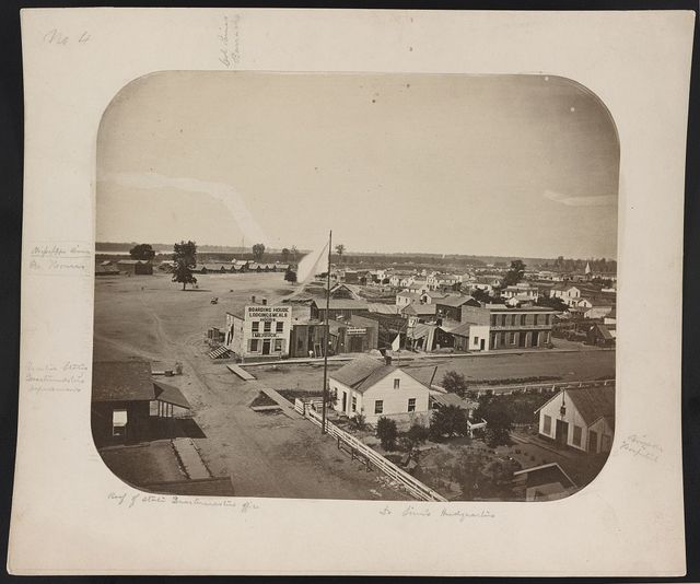 Col. Paine's barracks, brigade hospital, Dr. [Sim's?] headquarters, roof of State quartermasters office, United States Quartermasters Department, ice houses, Mississippi River
