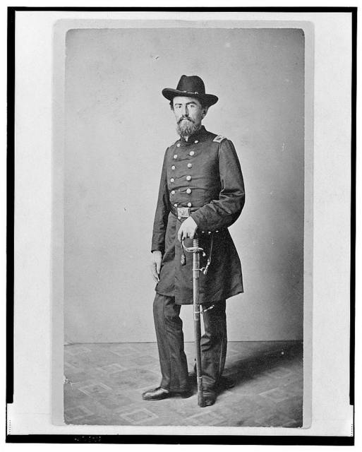 [Colonel Francis (Frank) Erdelmeyer, Union officer in the 32nd Indiana Regiment, full-length portrait, standing, facing front] / photographed by E. & J. Bruening, Indianapolis, Ind.