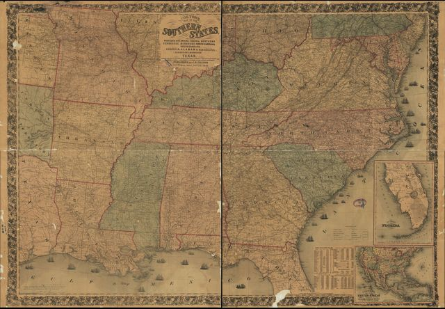 Colton's map of the southern states. Including Maryland, Delaware, Virginia, Kentucky, Tennessee, Missouri, North Carolina, South Carolina, Georgia, Alabama, Mississippi, Arkansas, Louisiana, Texas. Showing also part of adjoining states & territories locating the forts & military stations of the U. States & showing all the rail roads, r. r. stations, & other internal improvements.
