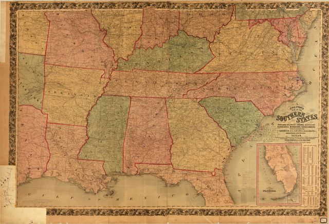 Colton's map of the southern states : including Maryland, Delaware, Virginia, Kentucky, Tennessee, Missouri, North Carolina, South Carolina, Georgia, Alabama, Mississippi, Arkansas, Louisiana, Texas : showing also part of adjoining states & territories locating the forts & military stations of the U. States & showing all the rail roads, r.r. stations & other internal improvements.