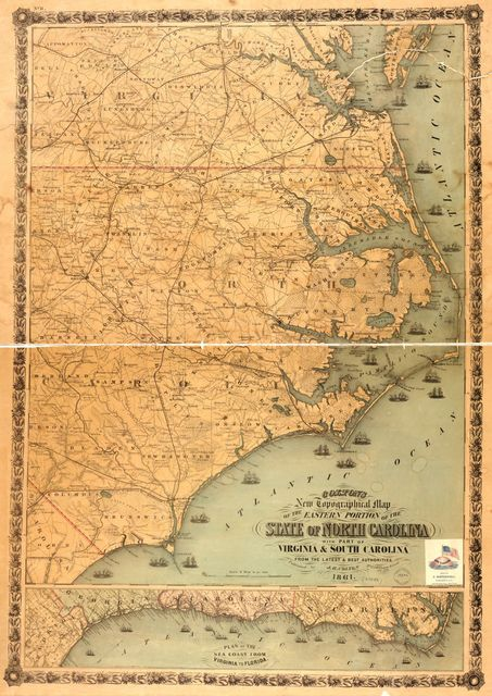 Colton's new topographical map of the eastern portion of the state of North Carolina with part of Virginia & South Carolina from the latest & best authorities.