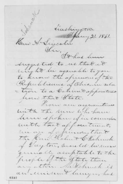 Columbus Delano and Benjamin Stanton to Abraham Lincoln, Monday, January 21, 1861  (Recommend Robert Schenk for cabinet)