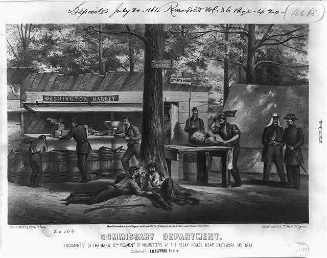 Commissary department. Encampment of the Mass. 6th Regiment of Volunteers at the Relay House near Baltimore, Md., 1861
