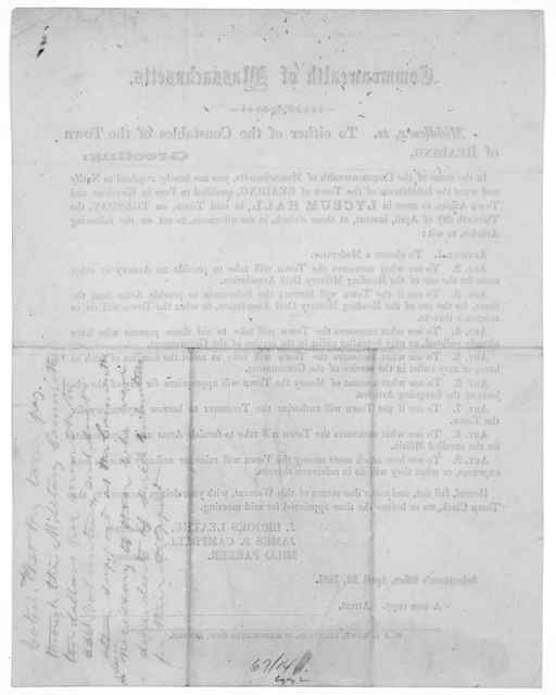 Commonwealth of Massachusetts. Middlesex, ss To either of the constable of the Town of Reading. Greeting: In the name of the Commonwealth of Massachusetts, you are hereby required to notify and warn the inhabitants of the Town of Reading, qualif