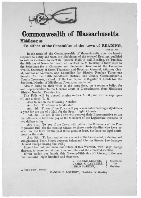 Commonwealth of Massachusetts. Middlesex ss. To either of the constables of the town of Reading, Greeting. In the name of the Commonwealth of Massachusetts, you are hereby required to notify and warn the inhabitants of the town of Reading, quali
