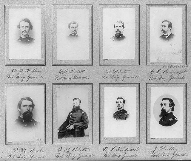 [Composite of 7 busts and 1 half-length photos of Brig. Generals A.W. Webber, C.F. Walcott, D. White, C. Wainwright, T.M. Walker, F.H. Whittier, O. Woodward, J. Woolley]