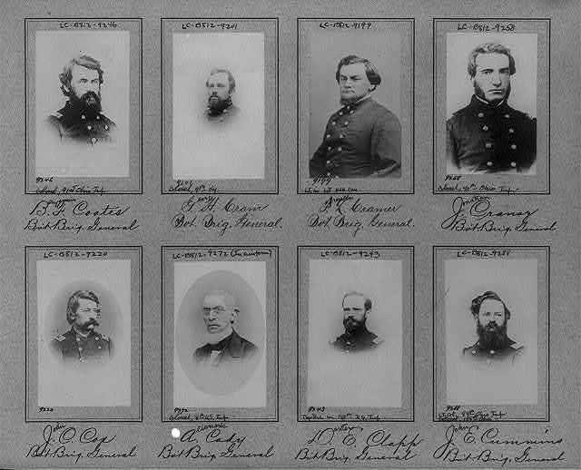 [Composite of 8 bust photos of Brig. Generals Benjamin F. Coates, George H. Cram, Francis L. Cramer, Jonathan Cranor, John C. Cox, Albemarle Cady, Dexter E. Clapp, John E. Cummins]