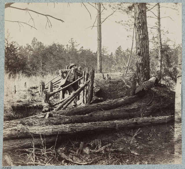 Confederate entrenchments at edge of woods, Palmer's field, on Orange Turnpike