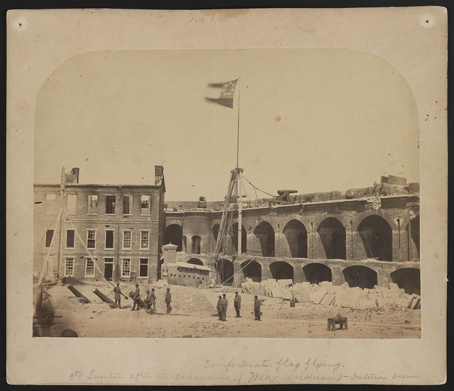 Confederate flag flying.  Ft. Sumter after the evacuation of Maj. Anderson - interior view
