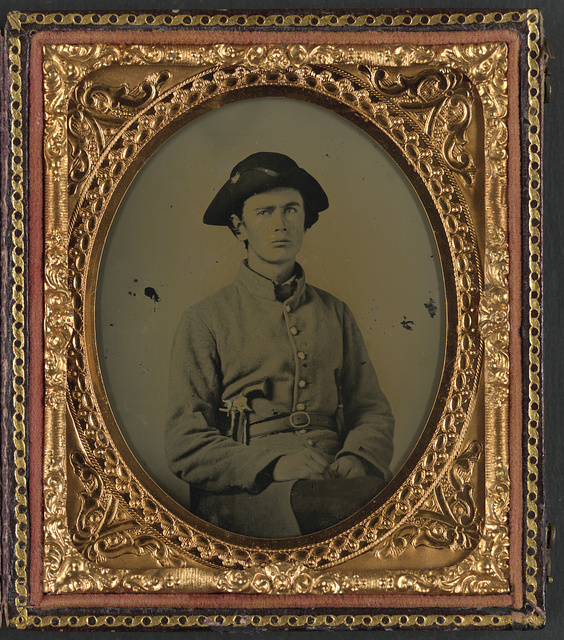 [Confederate soldier identified as Jonathan Sweet of Meridian, Mississippi, with pistol and Bowie knife]