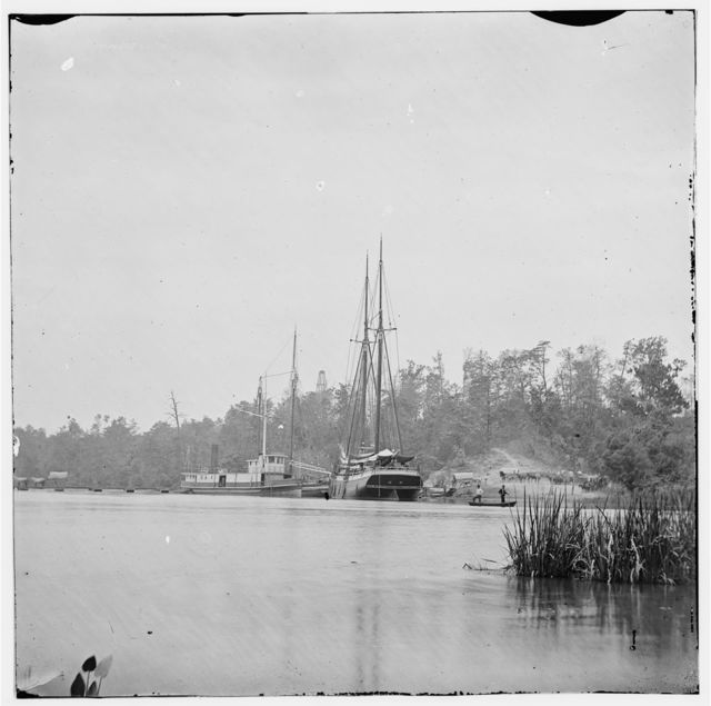 Conway Landing, Virginia. Boats and pontoon bridge on York River