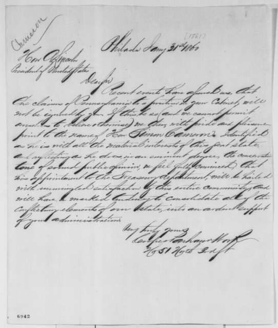 Cooper, Parham & Work to Abraham Lincoln, Thursday, January 31, 1861  (Recommend Cameron for cabinet)