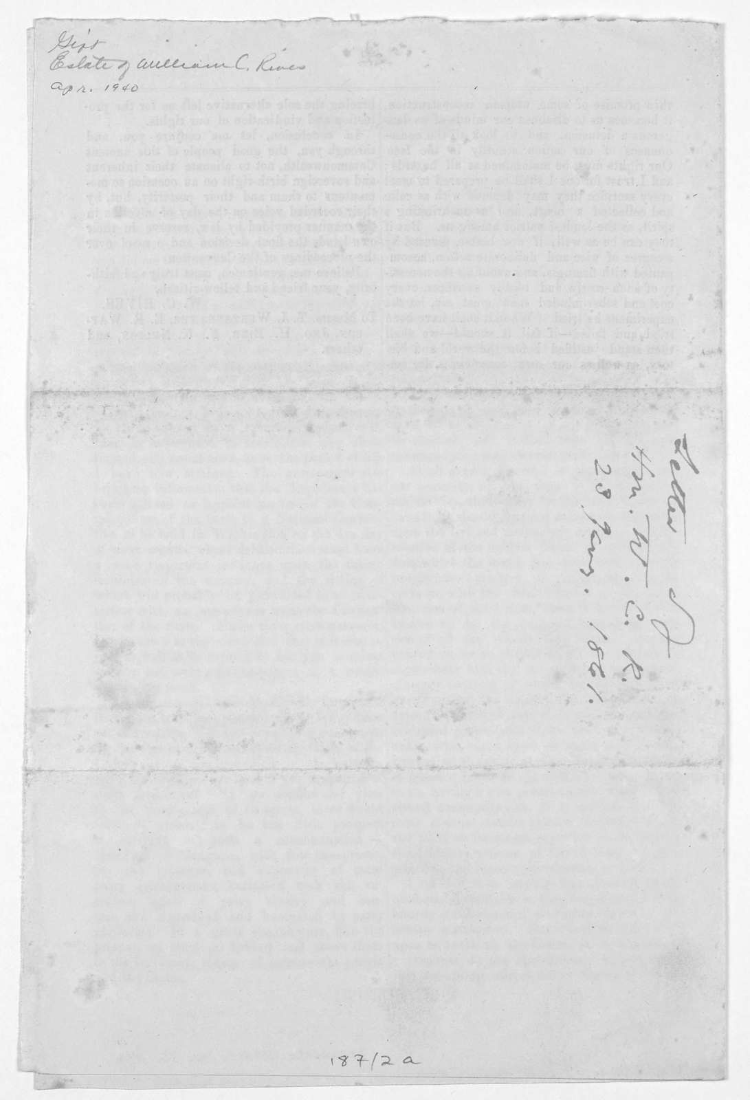 Correspondence. Albermarle County, Jan. 12, 1861. Wm. C. Rives and V. W. Southall, Esq's: Gentlemen- Taking it for granted that the bill for the call of a convention ... will speedily become a law, we feel the necessity of selecting without dela