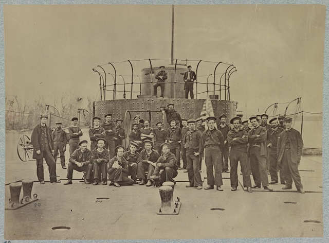 Crew on deck of monitor Lehigh, James River, Va.