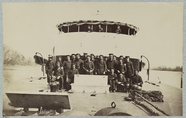 Crew on deck of monitor Saugus, James River, Va.