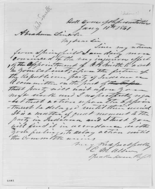 Cyrus M. Allen to Abraham Lincoln, Friday, January 11, 1861  (Opposes Caleb Smith)
