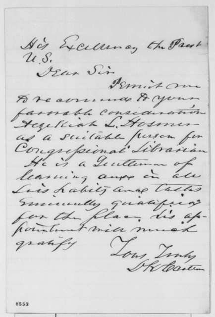 D. K. Carlton to Abraham Lincoln, March 1861  (Recommendation)