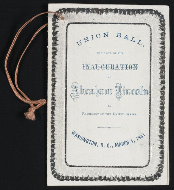 [Dance card for Lincoln's inaugural ball, 1861].